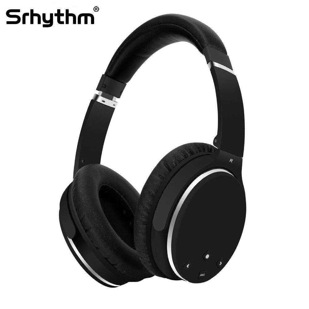 ANC Active Noise Cancelling Cuffie Hifi Senza Fili di Bluetooth Corso Ear Auricolari Pieghevoli profondo bass Auricolare con microfono