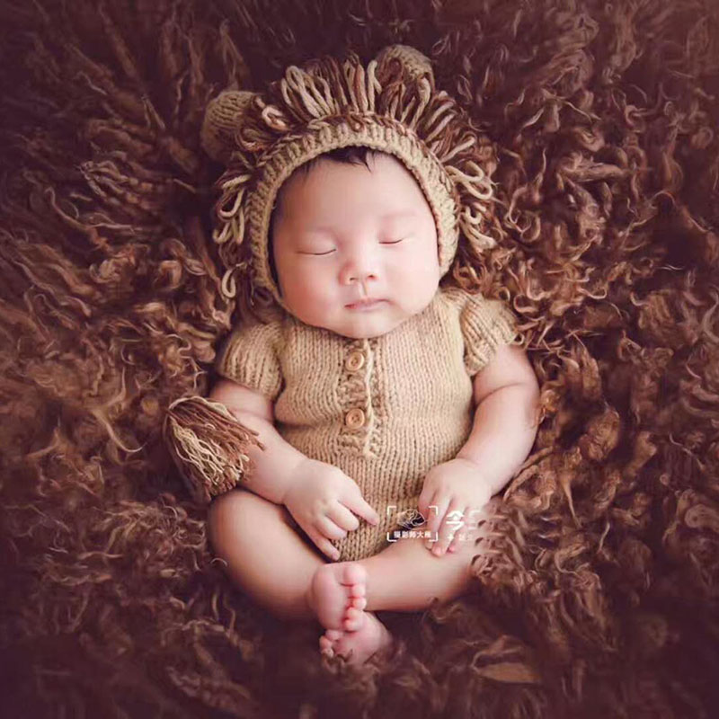 0 3M Newborn Photo Shoot Cute Cartoon Lion Outfits Clothes Tiny Baby Girl Boy Birthday Picture Shoot Fotografia Props Accessorie in Hats Caps from Mother Kids
