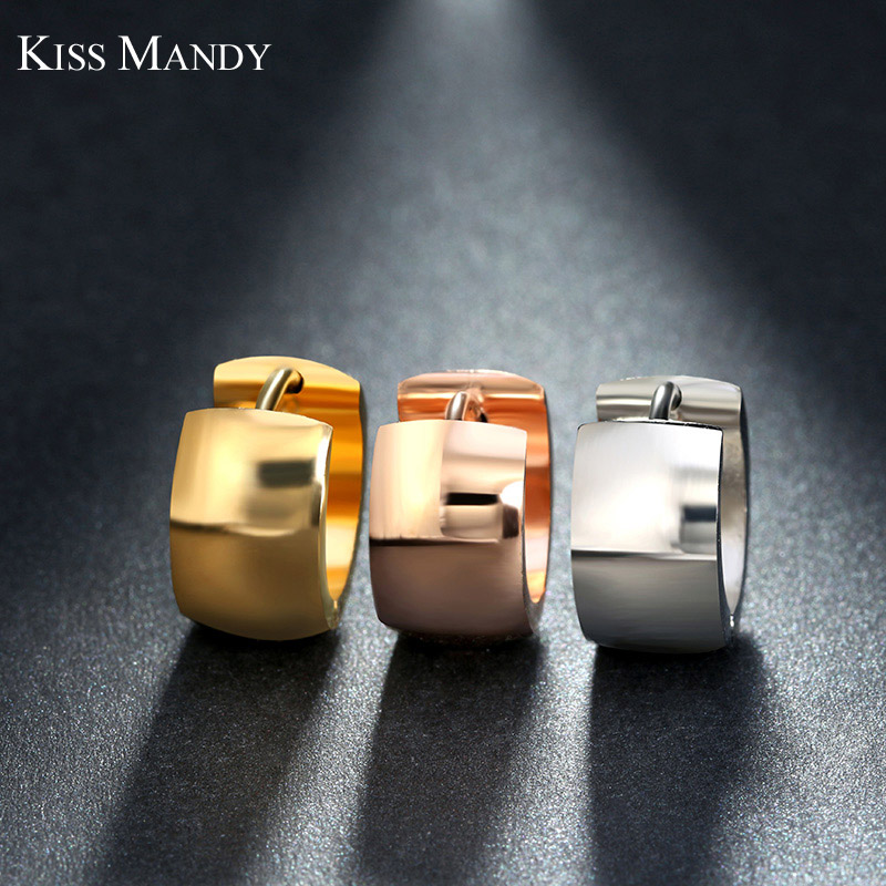 KISS MANDY Design Rose Gold / Gold / Silver Náušnice Mount Stainless Steel Classic Hoop Earring Nice Fashion Accessories FE18