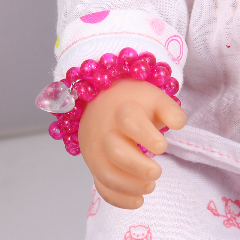 Doll accessories Hot Pink Crystal Beads Bracelet With Heart charms fit 43cm Baby Born zapf Children