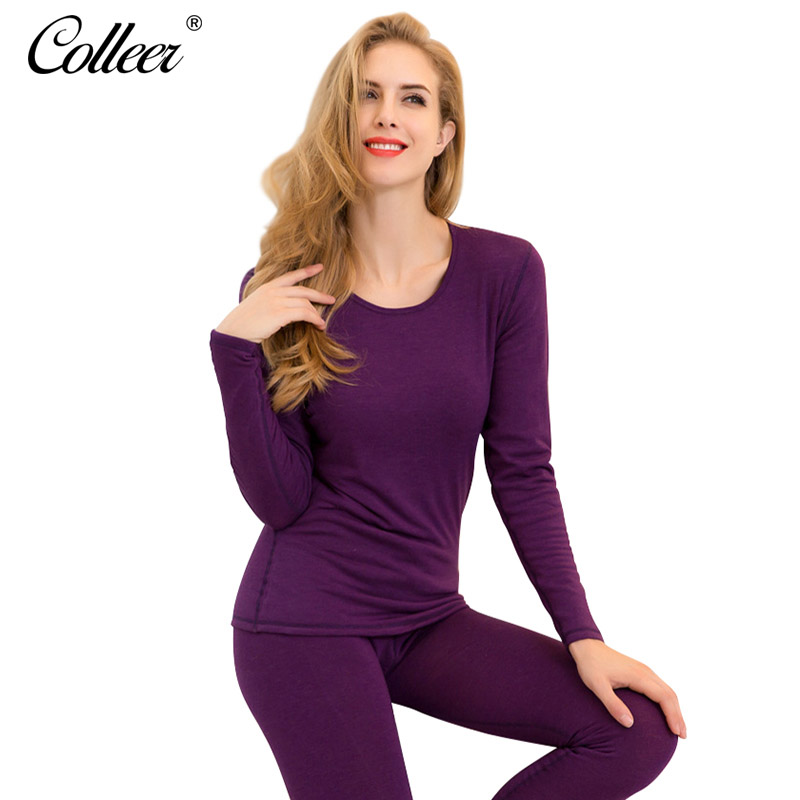 COLLEER Autumn Winter Lace Velvet Thin Women Shapers Shapewear Set Shirts Leggings Seamless Warm Sexy Thermal