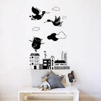 Art Mural Wall Sticker Birds And Bear Dance On The Roof Vinyl Decal Home Decor Wallpaper