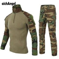 Tactische Militaire Combat Uniform Multicam Shirt + Broek Elleboog Knie Pads US Army Militaire Uniform Camouflage Pak Jacht Kleding