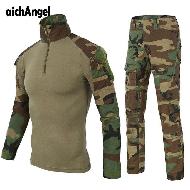 Taktische Militär Kampf Uniform Multicam Hemd + Hosen Knie Ellenbogen Pads UNS Armee Militär Uniform Camouflage Anzug Jagd Kleidung