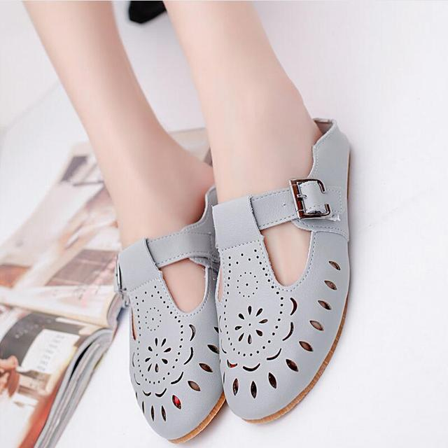 516c455f49abd Nice New Summer Fashion Hollow Out Breathable Casual Flat Shoes Women Flats  Buckle Ladies Loafers Slippers
