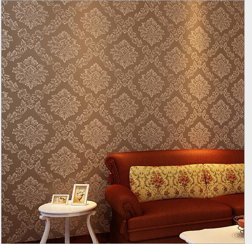 Damascus Non Woven Wallpaper Upscale European Style Light Brown Gold Flecked Bedroom