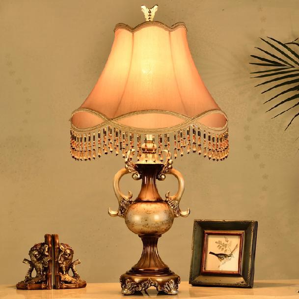 Простой ретро классическая кантри смолы ткань LED E27 настольная лампа для спальни исследование гостиная деко H 74 см 110-220 В