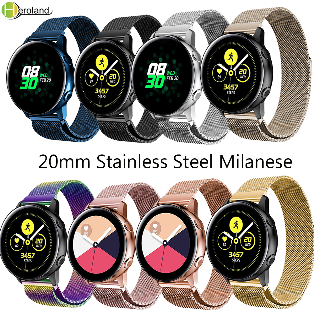 20mm watchstrap Stainless Steel Milanese Magnetic Wrist band Bracelet for Samsung Galaxy Watch Active Gear S2 Sport Amazfit Bip