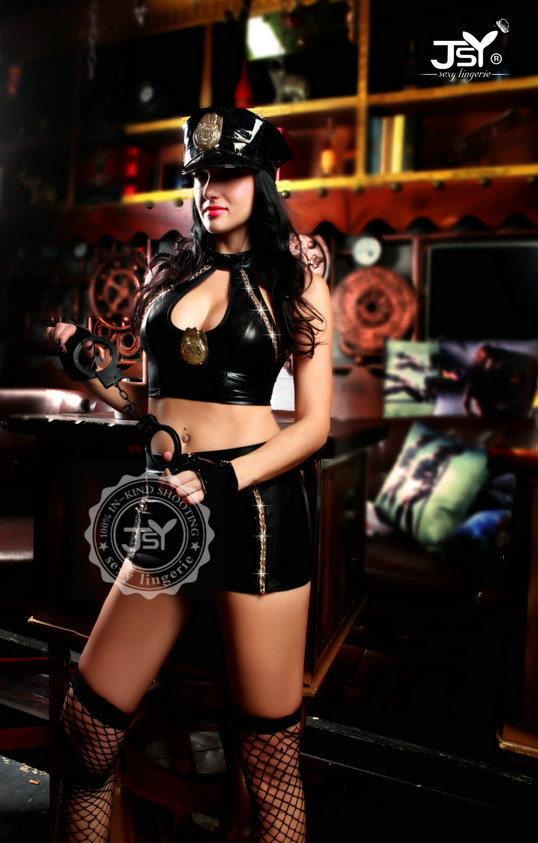 Woman Hot Police Costume Erotic Fantasy Pu Leather High -2586