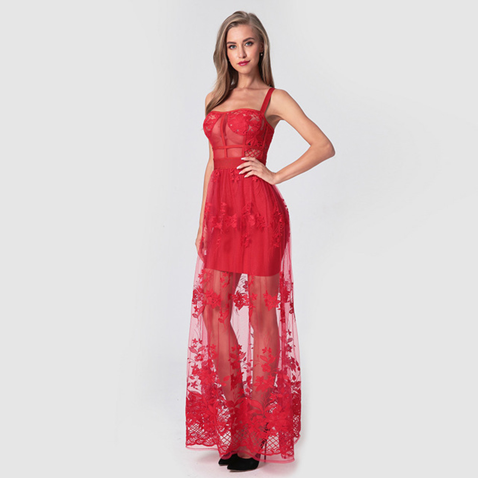 Spaghetti Strap Sleeveless Lace Embroidery Mesh Maxi Dress Women Red Bare Back Solid Long Evening Party