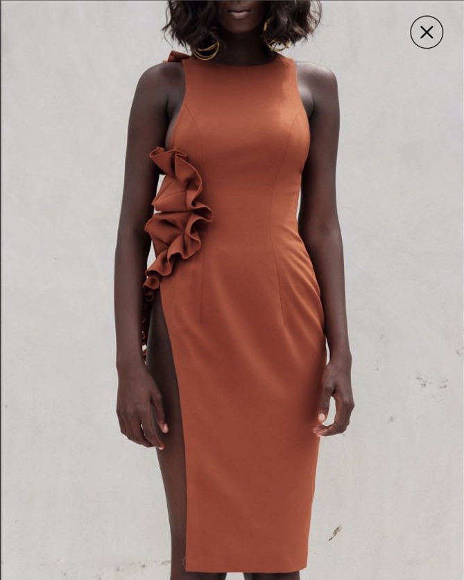 High Quality Orange Sleeveless Ruffles Open Fork Rayon Bandage Dress Homecoming Party Bodycon Dress