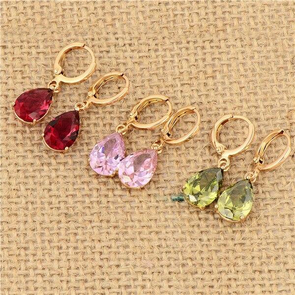 GUSSIARRO Multicolor Free Shipping Wholesale Delicate Gold-Color Water Drop Cubic Zirconia Women Drop Earrings No Nickel