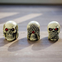 3PCS Skull Decoration Ornaments For Hallowmas Gifts Girls Boys Skull Sulpture Collection For Halloween Gifts 5