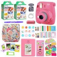 Fujifilm Instax Mini 9 Instant Photo Film Paper Camera Shoulder Strap Bag Printing Camera 40 Sheets Accessories Bundle Gift Set