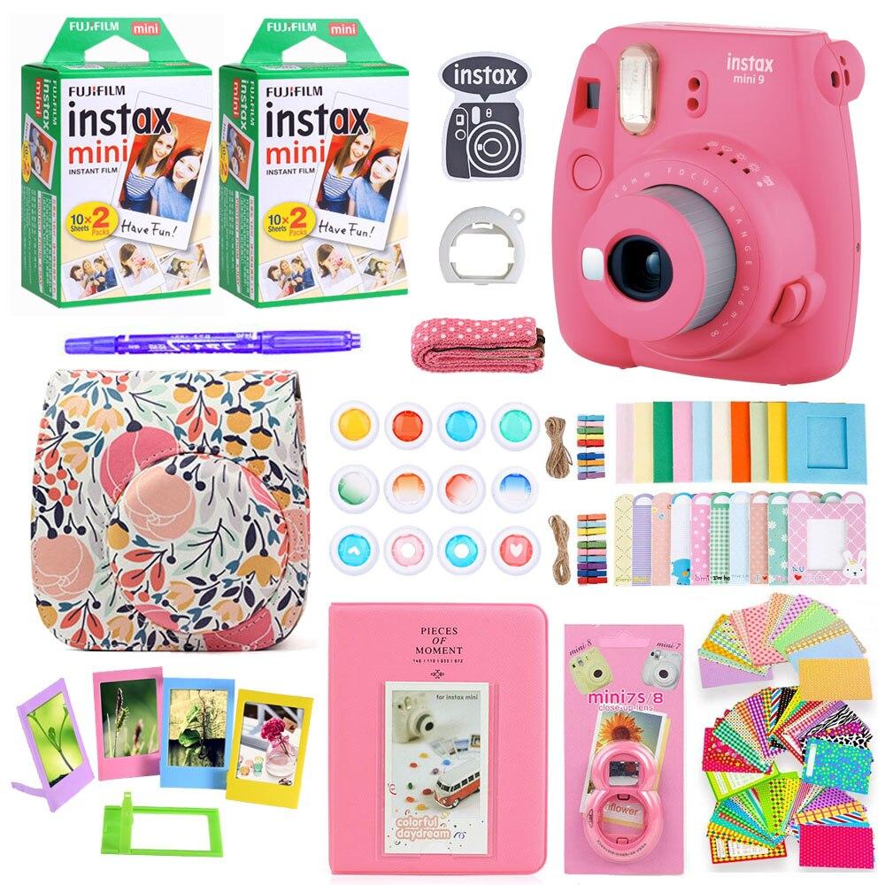 Fujifilm Instax Mini 9 Instant Photo Film Papier Caméra bandoulière Sac Impression Caméra 40 Feuilles Accessoires Faisceau coffret cadeau