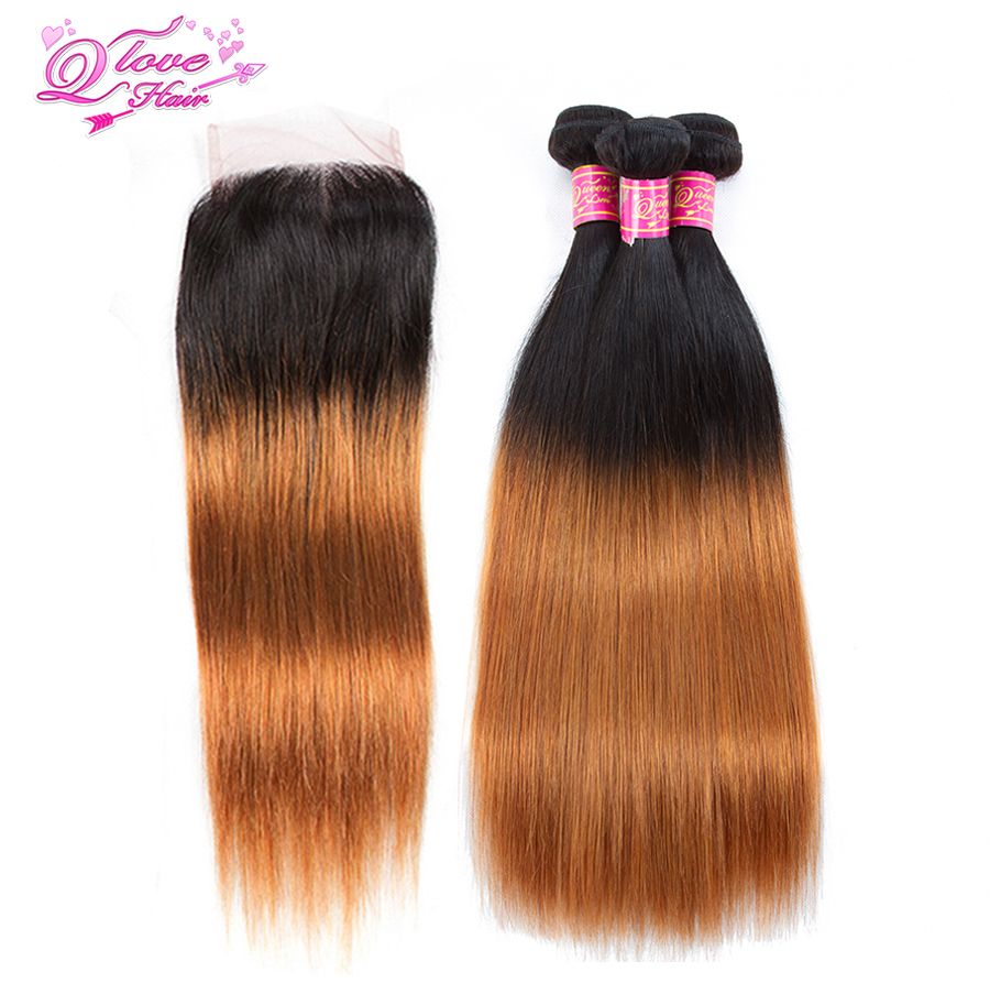 Queen Love Hair Pre-Coloed Peruvian Straight Hair 3 Bundle With Closure 1B/30 Color Human Hair Non-remy Hair Extension