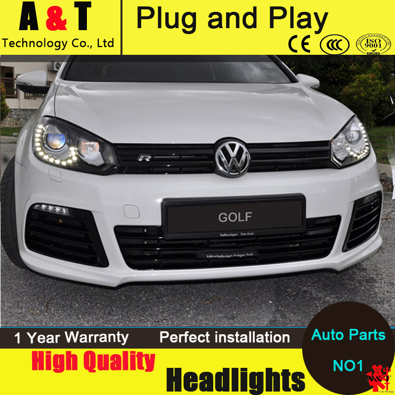 Auto Lighting Style LED Head Lamp for VW Golf 6 led headlights 2009-2012 GIT R20 Angel eye led drl H7 hid Bi-Xenon Lens low beam auto clud style led head lamp for benz w163 ml320 ml280 ml350 ml430 led headlights signal led drl hid bi xenon lens low beam