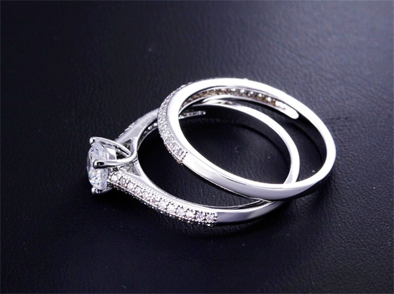 HTB122CUXukJL1JjSZFmq6Aw0XXaR 100% 925 Sterling Silver Rings for Women Double Simple Design Ring Bijoux Femme Bridal Wedding Jewelry Engagement Accessories
