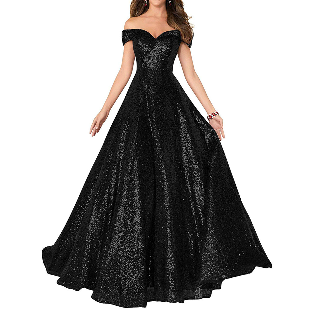 2019 Elegant Back Sequined Long   Prom     Dresses   Sexy V-Neck Backless   Prom   Gowns Plus Size A-Line Party   Dresses   Vestidos De Gala
