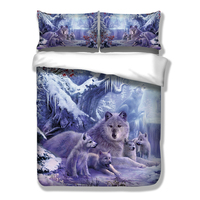 3D wolf bedding sets twin full queen king size snow tree duvet cover quilt cover pillow cases animal bed cover /bed clothes 3pcs