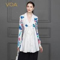 VOA White Long Sleeve Shirts 100% Heavy Silk T Shirt Luxury Ladies Tops Spring Slim Women Clothing Harajuku tee shirt femme B803