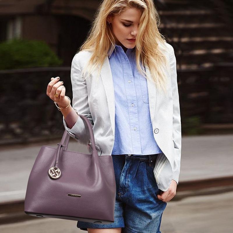 JIANXIU Brand Genuine Leather Handbag Luxury Handbags Women Bags Designer Female Metal Ornaments Big Tote 2018 New Top hand Bag-in Shoulder Bags from Luggage & Bags    2