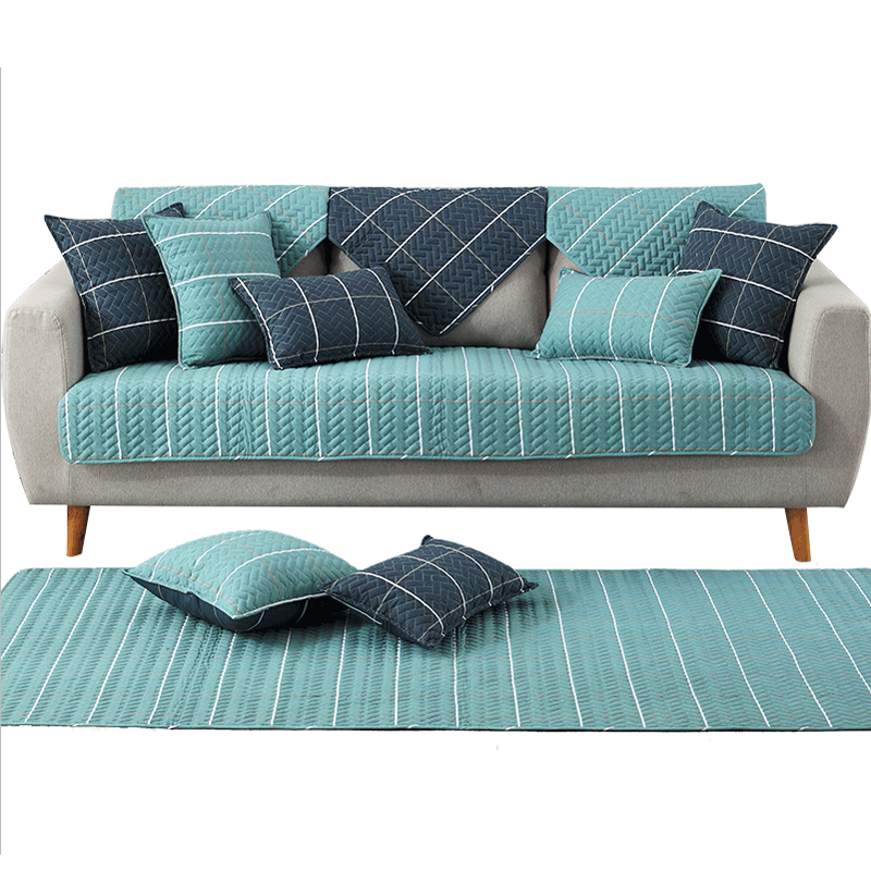 Modern Soft Non slip Fabric Sofa mats Green Blue Sofa Cover Resistant Sofa Slipcover Seat Couch