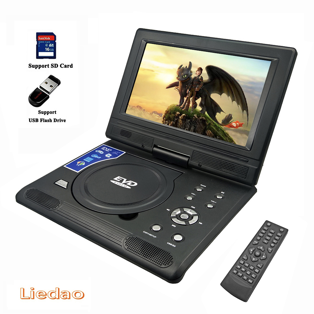 Liedao 9.8 inch Portable DVD EVD VCD SVCD CD Player With Game and radio Function TV AV Support SD MS MMC Card 9 portable dvd player w game radio function black