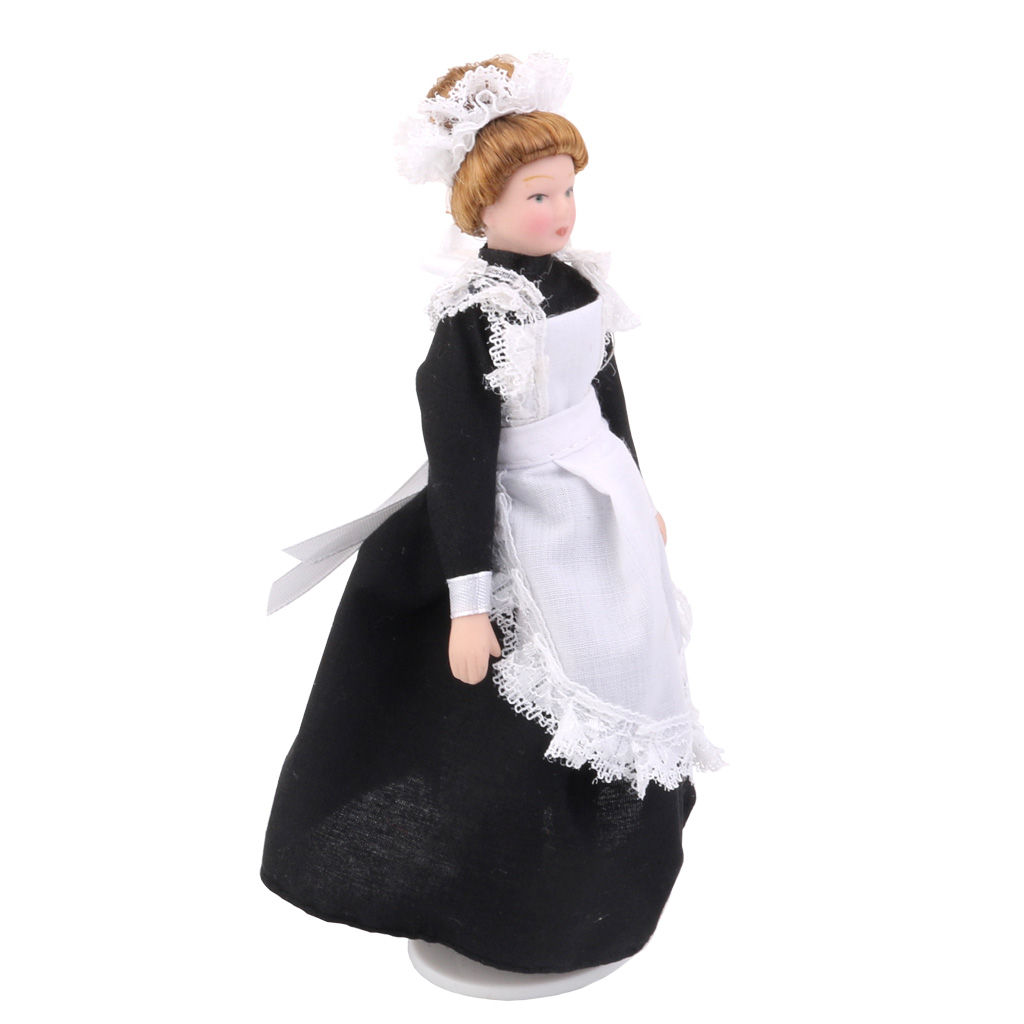 Dollhouse Miniature Porcelain Dolls Victorian Servant w White Display Stand Creative Girls Gifts Presents Pretend Play Toys 1