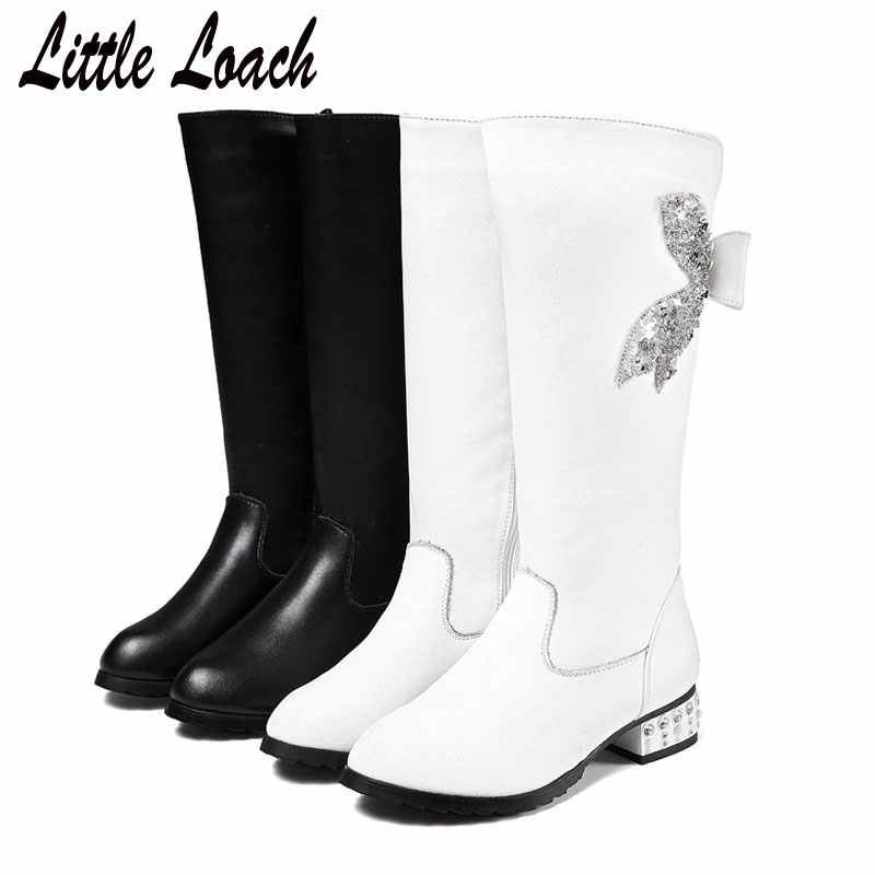 Children Mid-calf Boots Cow+ PU Leather Kids Winter Spring Boots Black White Low Heel Shiny Shoes Size 31-40 Big Girls Botas