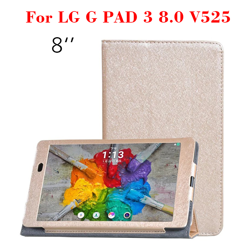 G Pad III 8.0 PU Leather Case Silk Print Flip Slim Smart Tablet Case Cover For LG G PAD 3 8.0 V525 8 inch Protective Stand Shell