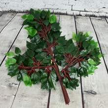 12 Pieces Garden Plant Leaves Artificial Plant Branch & 1 pieces  natural dry rattan home bedroom party decoration home