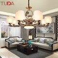 TUDA светодиодная люстра из китайского цинкового сплава  люстра для гостиной  столовой  спальни  матовая стеклянная люстра E27 110V 220V