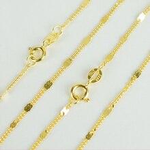 Итальянское ювелирное изделие, чистый 925 пробы, серебро, золото, 1,8 мм, плоская цепочка с хлыстом, колье, ожерелье, 40 см/45 см, длина для женщин и девушек
