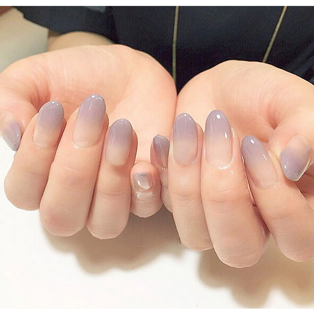Molto New 24pcs sexy nude purple Gradient color False Nail Art With Glue  UM37