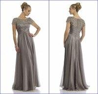 Vestido де mae noiva чисто совок декольте полностью из бисера Cap рукавом серебро плюс мать невесты платья вечернее платье