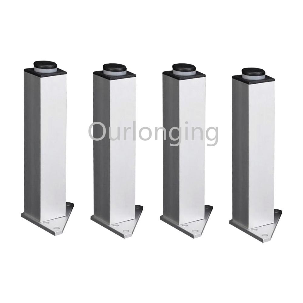4PCS 120mm Adjustable Triangle Base Silver Aluminum Alloy Furniture Legs Cabinet Sofa Feet