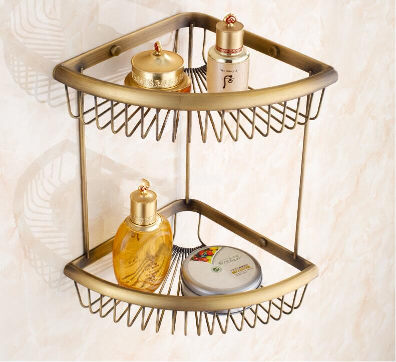 Luxury solid brass gold bathroom shelves shampoo holder corner bath basket Bathroom Accessories bath hardware black bathroom shelves stainless steel 2 tier square shelf shower caddy storage shampoo basket kitchen corner shampoo holder