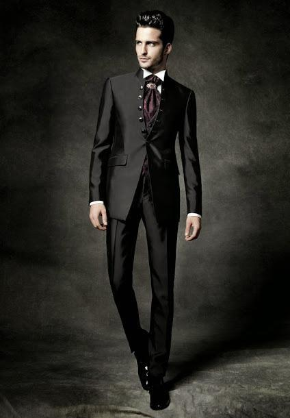 New Arrival Six Ons Black Groom Tuxedos Stand Collar Groomsmen Men Wedding Dinner Prom Suits Jacket Pants Vest Tie In From S