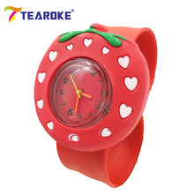TEAROKE 3D Children Cute Cartoon Slap Watch Red Strawberry Bee Digital Silicone Wristwatch Kids Toy Birthday