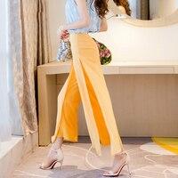 2016 new wide leg pants female High waist Maxi split chiffon culottes Casual double layer chic Palazzo Lounge pant trousers