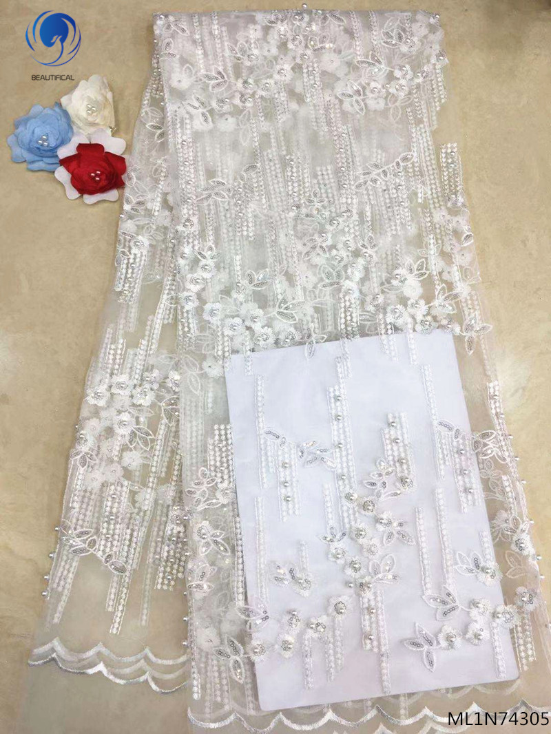 BEAUTIFICAL nigerian fabric lace white luxury african lace fabric 2019 wedding fabric lace 5 yards/lot for lady dress ML1N743BEAUTIFICAL nigerian fabric lace white luxury african lace fabric 2019 wedding fabric lace 5 yards/lot for lady dress ML1N743