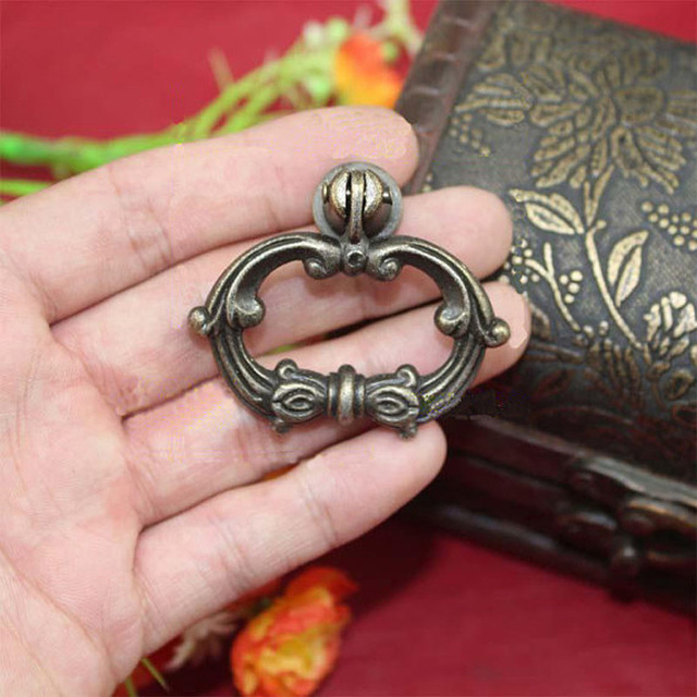 Retro Furniture Hardware Drawer Drop Ring Pull Knob  Bronze Tone Cupboard  Handle Shoes Box