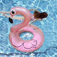 Inflatable Rose Gold Flamingo Swimming Ring with Feathers Women Swim Tube Raft Mattress Inflatable Pool Toys circle for swimming