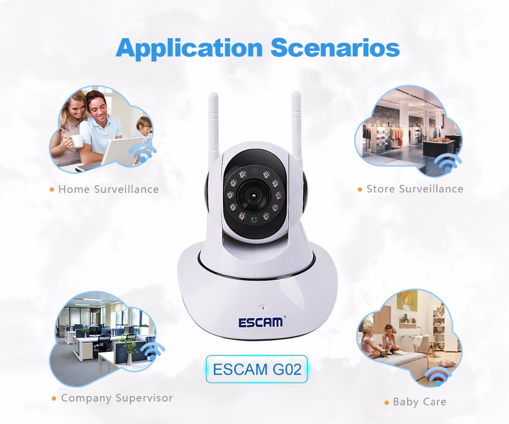 New Style Escam G02 Dual Antenna Strong Wifi IP Camera Email And FTP Alarm IR Camera HD P2P Camera Support 128G TF Card Storge