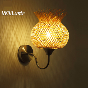 Bamboo Flower Wall Lamp Creative Handmade Japan Style Sconce Aisle Doorway Foyer Corridor Staircase Teahouse Cafe Bedside Light(China)
