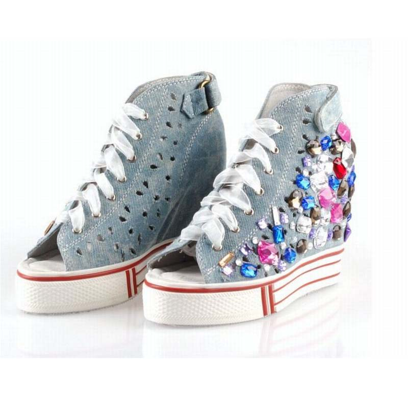 2017 hot fashion handmade colorful rhinestone sexy open toe summer denim canvas shoes thick sole platform wedges elevator shoes