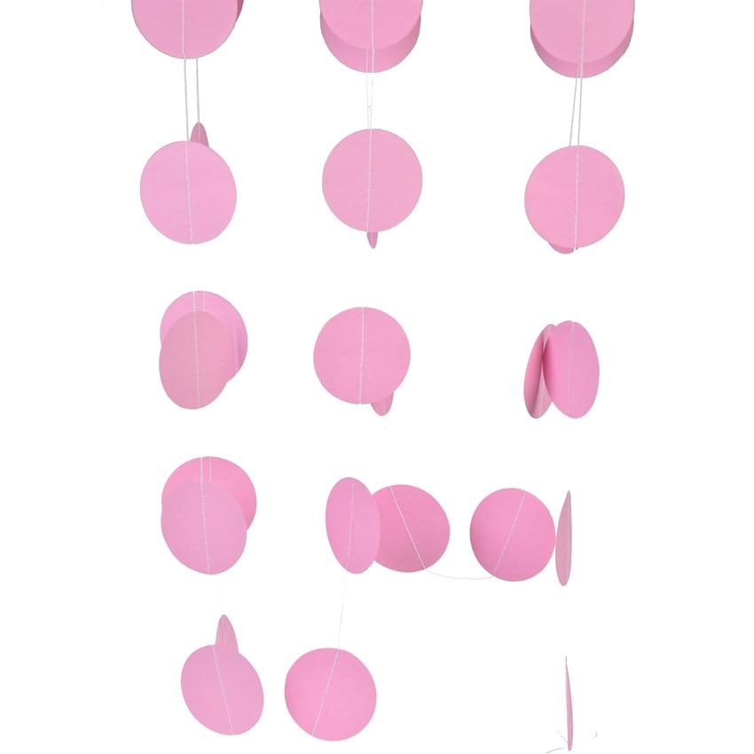 5.5cm*4m Pink White  Bunting Hanging Garland Valentine Birthday Party Wedding Shower Room Decoration Paper Round Circle String