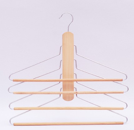 Hangerworld Space Saving Multilayer Wooden Storage Hanger for Clothes and Pants 4 pieces lot