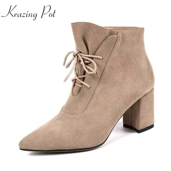 Krazing Pot 2019 cow suede gladiator pointed toe Hollywood lace up keep warm Chelsea boots ruffles lacework streetwear boots L22